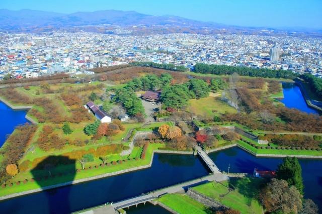 "The city of Goryokaku  ""magistrate's office"" with Tatami and night scenery  Hakodate"