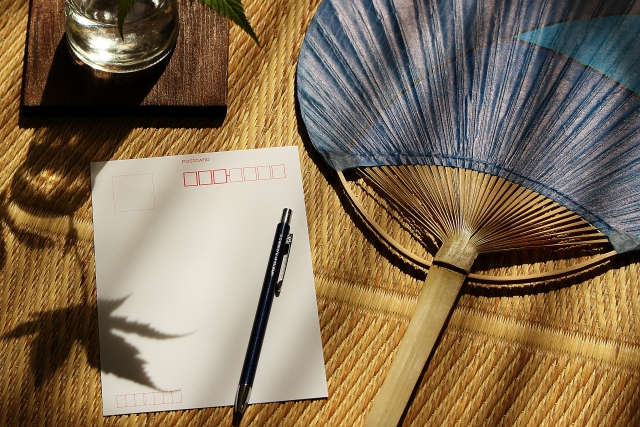 The summer and the Japanese room in Japan Wishes into the summer greeting card on the tatami