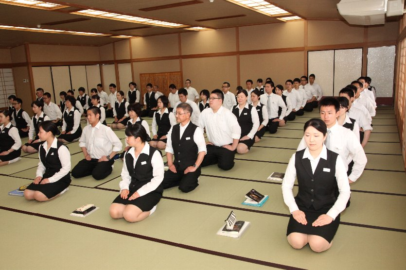 The Seiza style, the way of sitting with knees together and the legs folded under the body, is beautiful to see on the tatami.