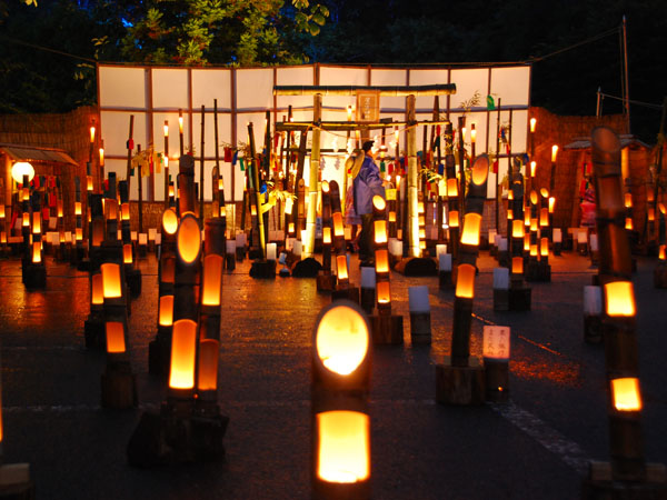 Yunishikawa Hot Spring with lighted up candles Tochigi in the summer, fulfilled with the mysterious views and the Japanese atmosphere