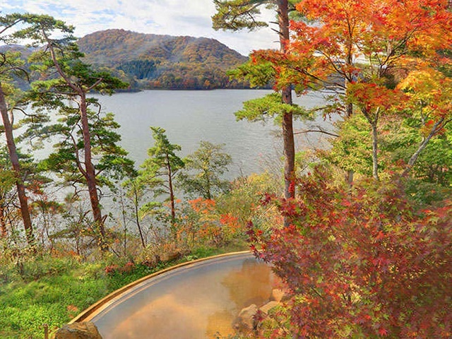 The great view of Japan to feel the autumn  Autumn leaves in Goshikinuma, located on the foot of Mt. Bandai in Fukushima